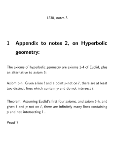 1 Appendix to notes 2, on Hyperbolic geometry: