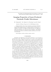 Imaging Properties of Laser-Produced Parabolic Profile Microlenses