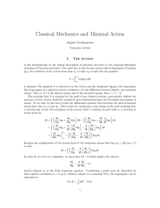 Classical Mechanics and Minimal Action