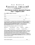 Summer Apprentice Program - New Bedford Festival Theatre