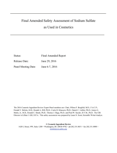 Final Amended Safety Assessment of Sodium Sulfate as Used in
