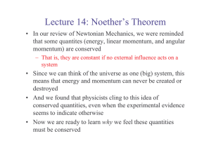Lecture 14: Noether`s Theorem