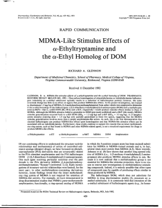 MDMA-Like Stimulus Effects of a-Ethyltryptamine and the cz