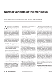 Normal variants of the meniscus