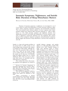 Insomnia Symptoms, Nightmares, and Suicide Risk: Duration of