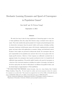 Stochastic Learning Dynamics and Speed of Convergence in