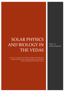 SOLAR PHYSICS AND BIOLOGY IN THE VEDAS