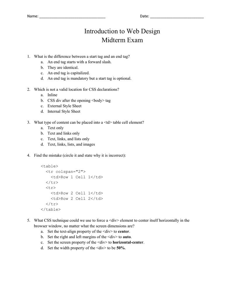 Week 6 - Midterm Exam