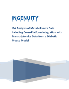 Ingenuity Pathway Analysis of metabolomics data including cross