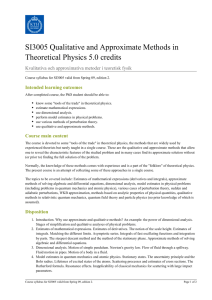 KTH | SI3005 Qualitative and Approximate Methods in Theoretical