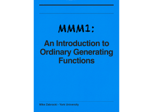An Introduction to Ordinary Generating Functions