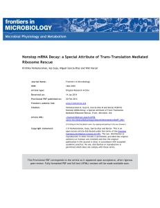 Nonstop mRNA Decay: a Special Attribute of Trans