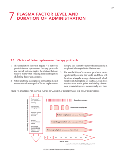 Section 7: Plasma factor level and duration of administration