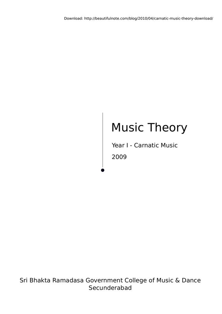 Music Theory - 1st year Carnatic