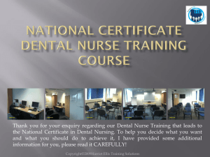 National certificate Dental Nurse training course