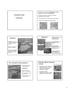 Landscape Ecology Introduction Definitions Definitions Key