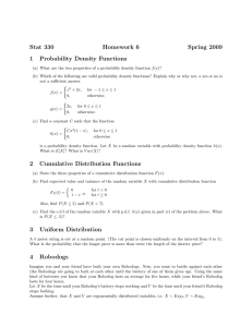 Stat 330 Homework 6 Spring 2009 1 Probability Density Functions 2