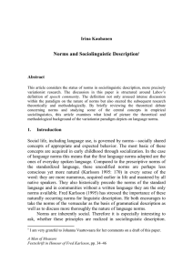 Norms and Sociolinguistic Description1