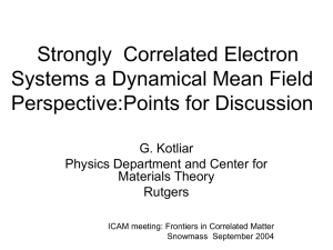 Correlated Electrons: A Dynamical Mean Field (DMFT) Perspective