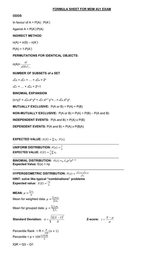 Formula Sheet For Mdm 4u1 Exam