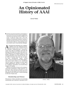 An Opinionated History of AAAI - Association for the Advancement of