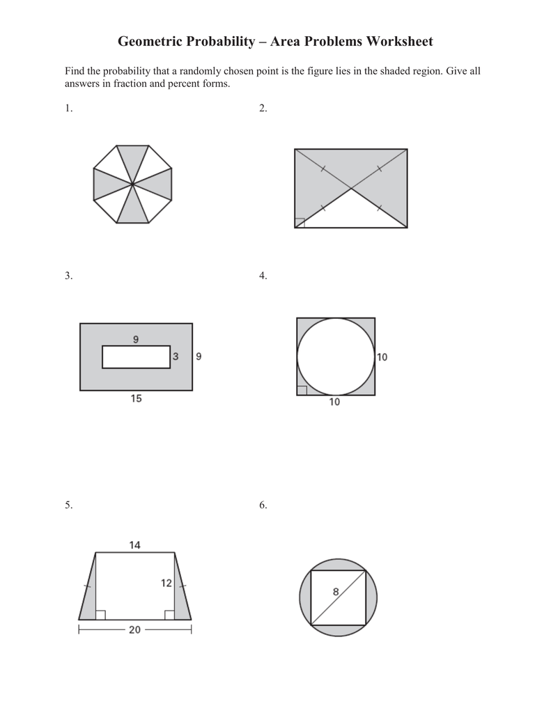 Worksheets Area Of A Sector Worksheet geometric probability area problems worksheet