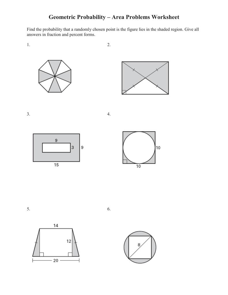 Worksheets Geometric Probability Worksheet geometric probability area problems worksheet