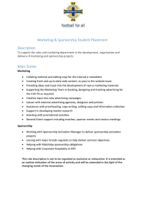 Marketing Sponsorship Student Placement
