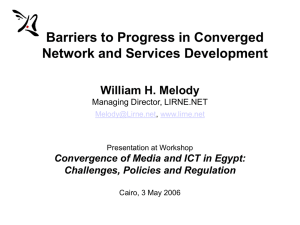 Barriers to Progress in Converged Network and Services Development