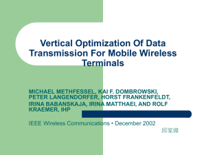 Vertical optimization of data transmission for mobile wireless terminals