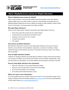 About Staphylococcus aureus (or Staph) Infections