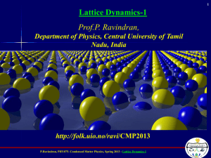 Prof.P. Ravindran, Lattice Dynamics-1