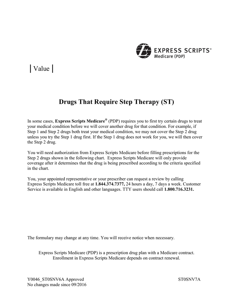 Express Scripts Medicare PDP Value Step Therapy 2017