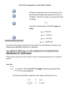 Notes – Free Fall and Acceleration at the Earth`s Surface ekb