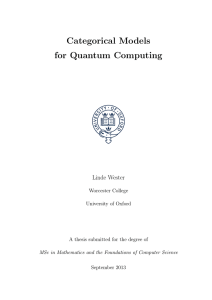 Categorical Models for Quantum Computing