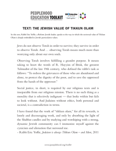text: the jewish value of tikkun olam