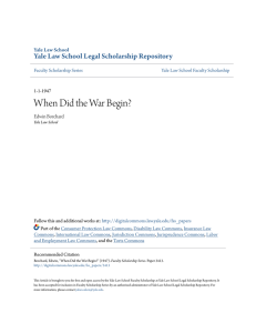 When Did the War Begin? - Yale Law School Legal Scholarship