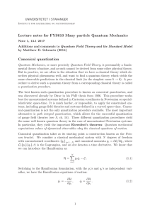 Lecture notes for FYS610 Many particle Quantum Mechanics