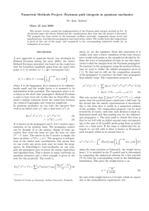 Numerical Methods Project: Feynman path integrals in quantum