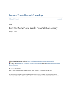 Forensic Social Case Work: An Analytical Survey