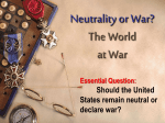 WWI Neutrality or War lesson