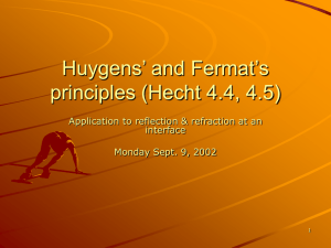 Huygens` and Fermat`s Principles – Application to reflection