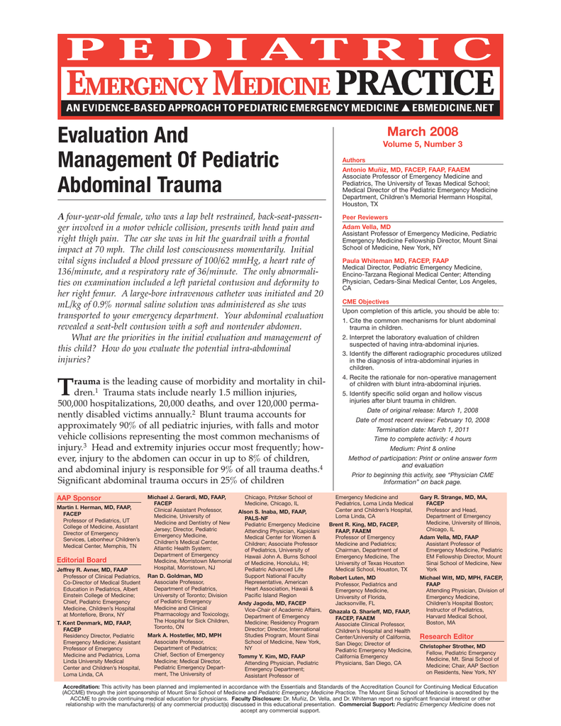 Evaluation And Management Of Pediatric Abdominal Trauma