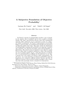 A Subjective Foundation of Objective Probability