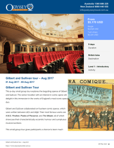 Gilbert and Sullivan tour - Aug 2017