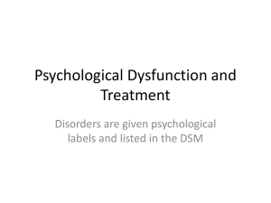 Psychological Dysfunction and Treatment