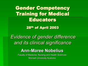 Evidence of Gender Difference - Faculty of Medicine, Nursing and
