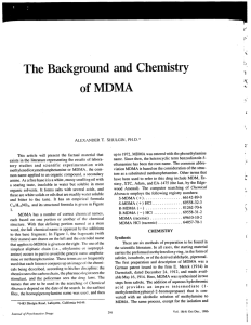 The Background and Chemistry ofMDMA