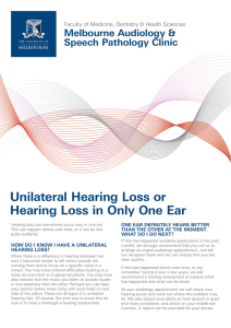 Hearing Loss in Only One Ear PDF File 4.4 MB