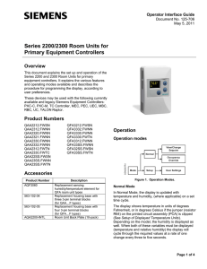 Series 2200/2300 Room Units for Primary Controllers